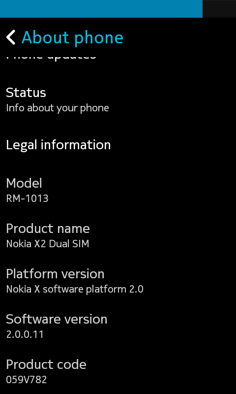 Nokia X2 software version.png